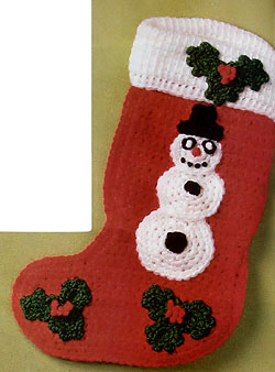 Crocheted Snowman Stocking picture