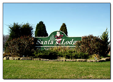 Santa's Lodge sign